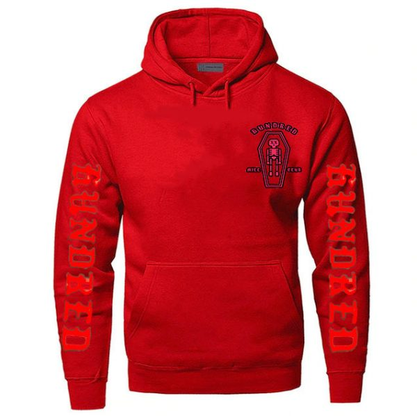 Red Color With White Text Pewdiepie Hoodies