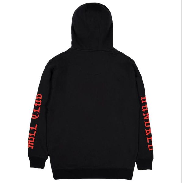 black color with red text pewdiepie merch hoodie