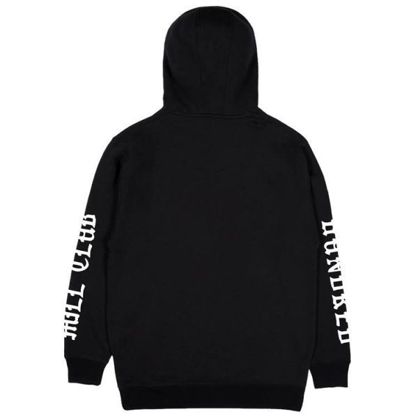 black color with white text pewdiepie merch hoodie