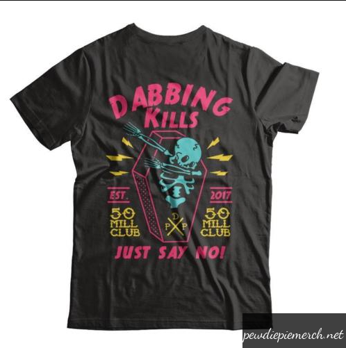 Black Color With PewDiePie Dabbing Kill Men's T-Shirt