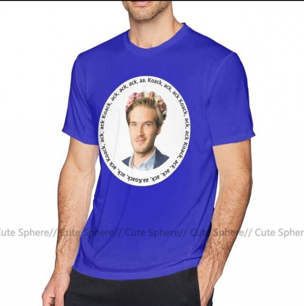 White Black Blue Color With Pewdiepie Graphic Man T-Shirt