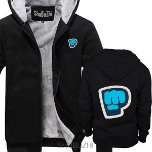 black color pewdiepie smash logo zipper hoodie