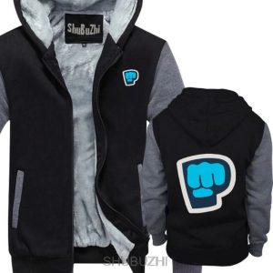 black grey color pewdiepie smash logo zipper hoodie4