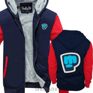 blue red color pewdiepie smash logo zipper hoodie2