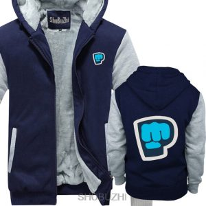 blue grey color pewdiepie smash logo zipper hoodie3