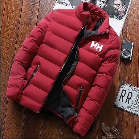 2020 New Men Winter Warm Out Wear Large size men's long sleeve stand collar cotton business casual zipper warm cotton jacket red