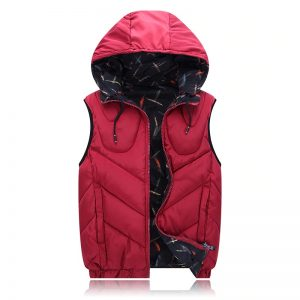 4XL-8XL Big Size Cotton Vest Hoodie For Men Winter Autumn Padded 3 Colors Warm Thick Parka Sleeveless Jacket red