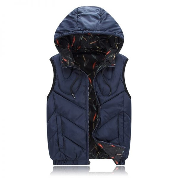 4XL-8XL Big Size Cotton Vest Hoodie For Men Winter Autumn Padded 3 Colors Warm Thick Parka Sleeveless Jacket blue