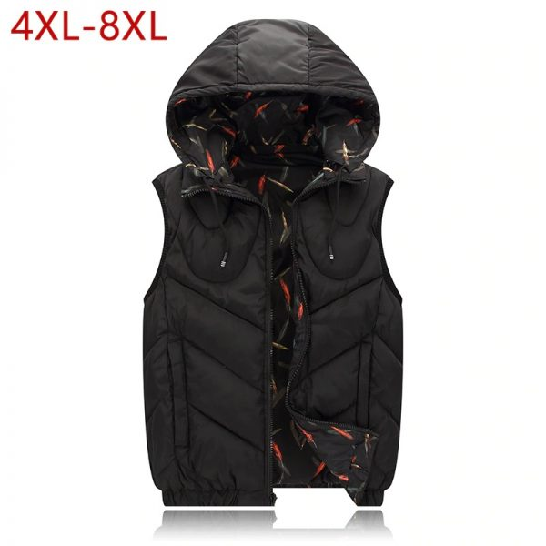 4XL-8XL Big Size Cotton Vest Hoodie For Men Winter Autumn Padded 3 Colors Warm Thick Parka Sleeveless Jacket