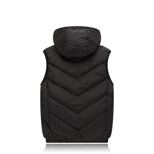 4XL-8XL Big Size Cotton Vest Hoodie For Men Winter Autumn Padded 3 Colors Warm Thick Parka Sleeveless Jacket black
