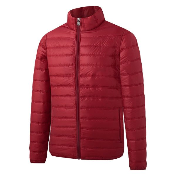 Down Cotton-padded Jacket Casual All-match Fashion Men's Stand-up Collar Thick Solid Color Autumn large size red