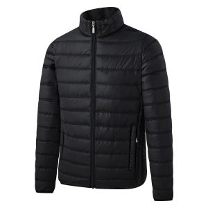 Down Cotton-padded Jacket Casual All-match Fashion Men's Stand-up Collar Thick Solid Color Autumn large size black