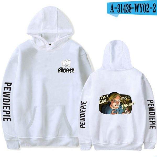 Pewdiepie Sweatshirts Loose Young Casual Adult Letter Men's Hoodies 2020 New Stylish Logo Clothes Full Spring Autumn Winter WY02 white
