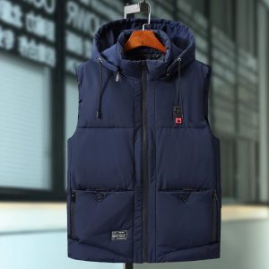 Plus Size 9XL Mens Winter Jackets Male Cotton Padded Warm Slim Pocket Waistcoat Casual Thick Vests Men Sleeveless Hoodie Coats blue