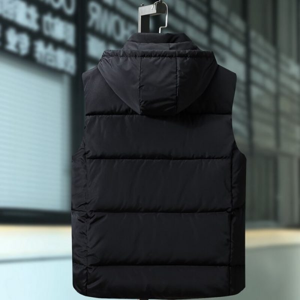Plus Size 9XL Mens Winter Jackets Male Cotton Padded Warm Slim Pocket Waistcoat Casual Thick Vests Men Sleeveless Hoodie Coats