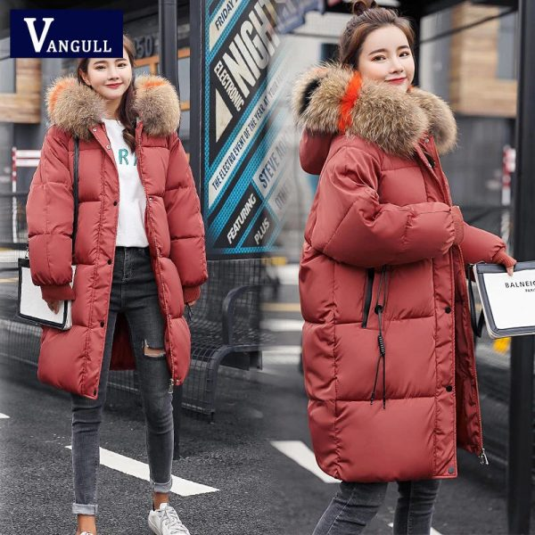 Vangull Loose Warm Winter Jackets Coats Women Hooded Fur Coat Down Parkas Long Cotton Padded Jacket red