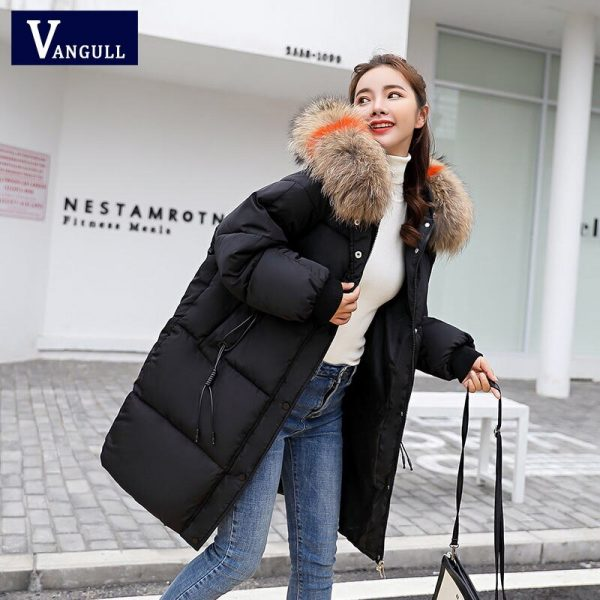 Vangull Loose Warm Winter Jackets Coats Women Hooded Fur Coat Down Parkas Long Cotton Padded Jacket black