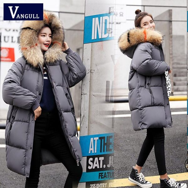 Vangull Loose Warm Winter Jackets Coats Women Hooded Fur Coat Down Parkas Long Cotton Padded Jacket silver