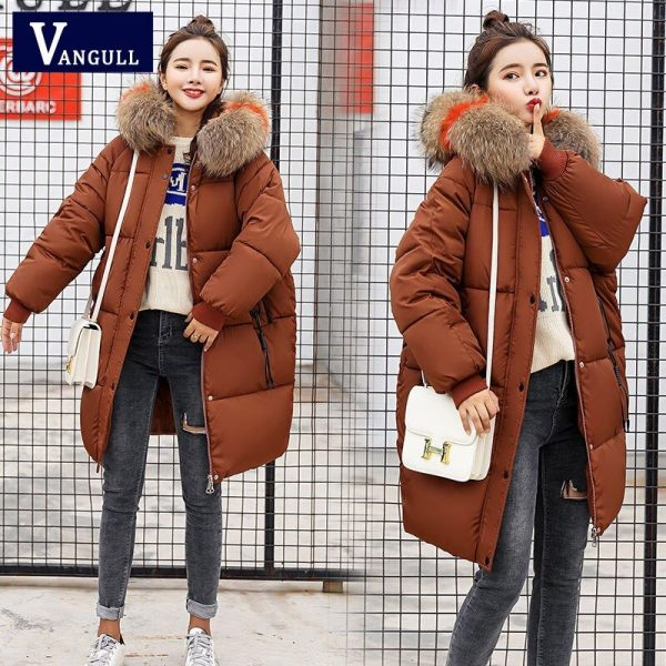 Vangull Loose Warm Winter Jackets Coats Women Hooded Fur Coat Down Parkas Long Cotton Padded Jacket brown