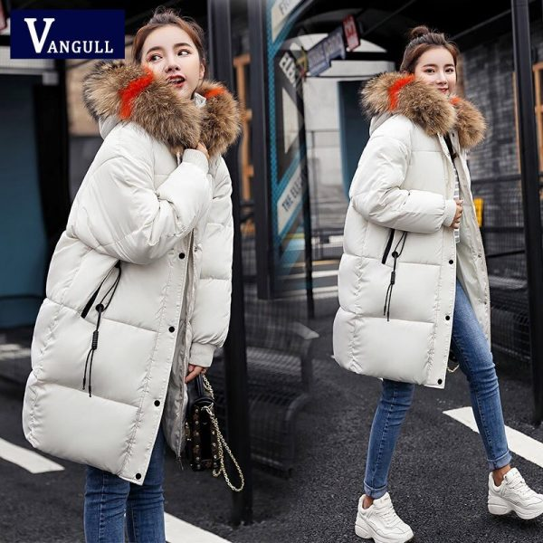 Vangull Loose Warm Winter Jackets Coats Women Hooded Fur Coat Down Parkas Long Cotton Padded Jacket white